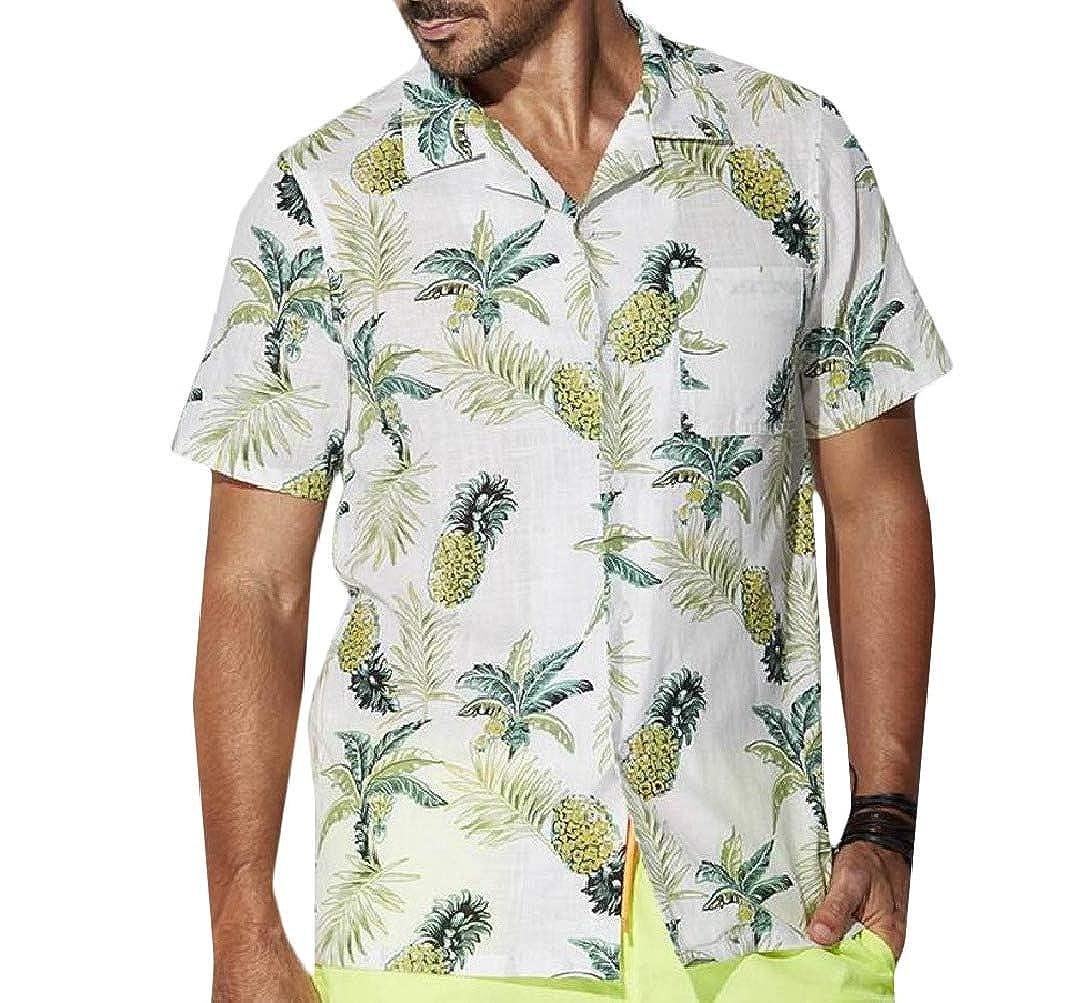 HEFASDM Mens Relaxed-Fit Short Sleeve Button-Front Hawaiian Beach Polo T-Shirts