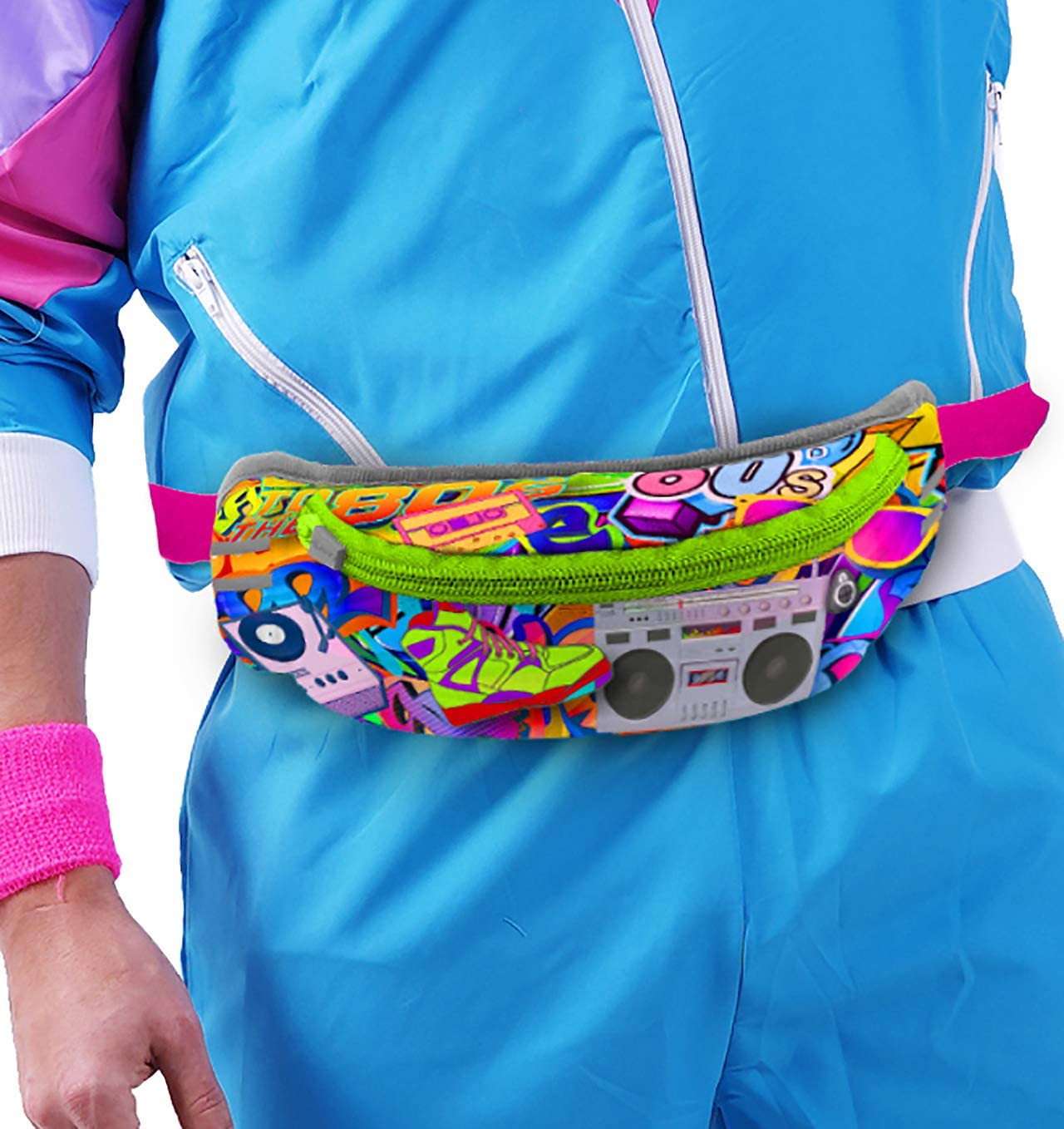 streetwear cool Vintage 90/'s pink /& blue textile zip-up fanny pack Adjustable strap waist bag All fabric bum bag Neon banana bagHipster