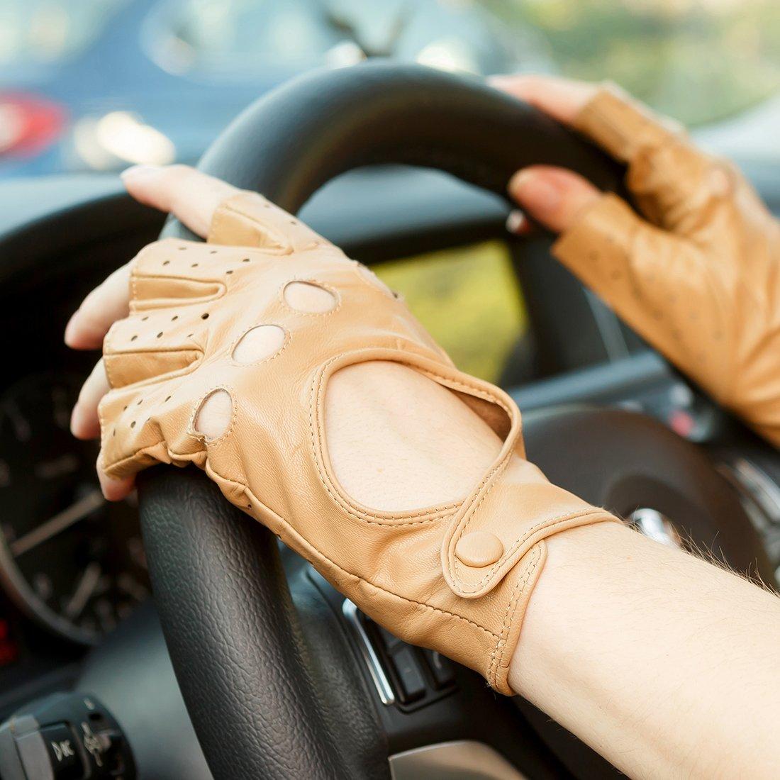 Nappaglo Women s CLASSIC medio dedo de cuero de piel de cordero conduccion guantes fingerless guantes de fitness al aire libre sin forro