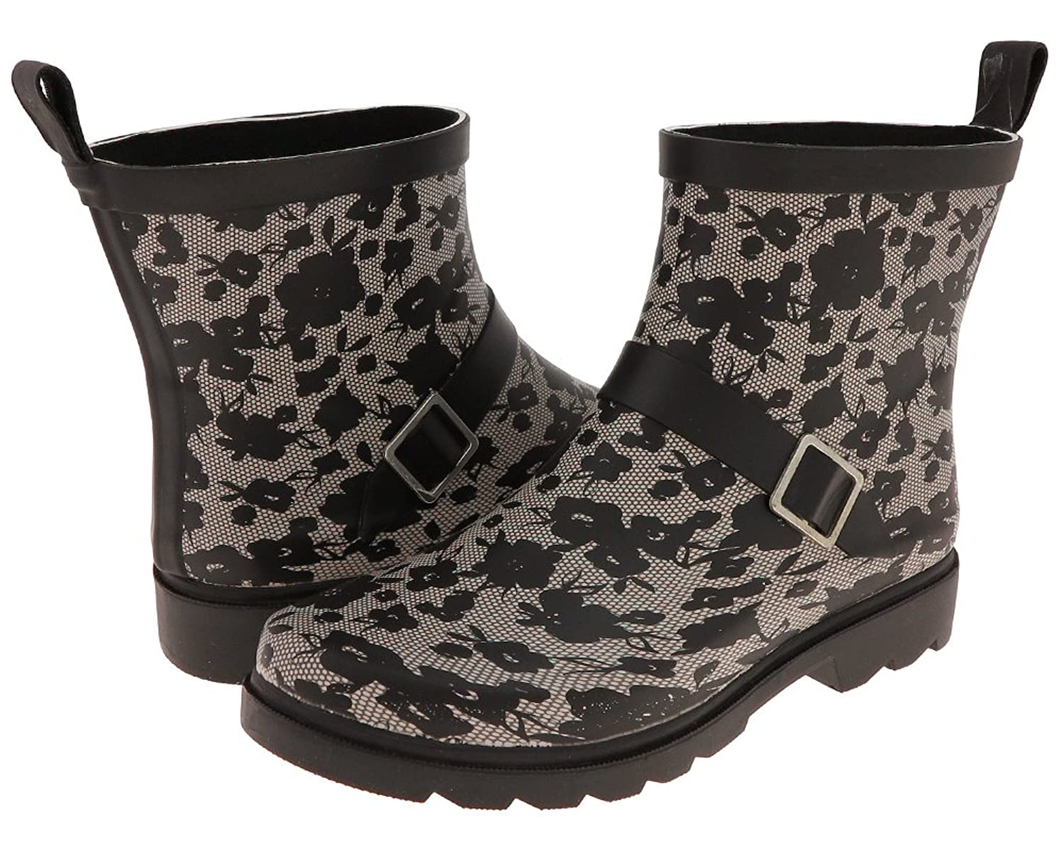 Capelli New York Matte Lacey Blooms Printed Ladies Slip-On Rubber Rain Boot