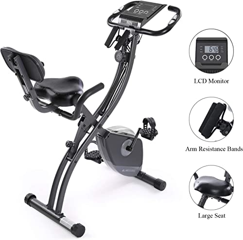 Exercise Bike Stationary Bike Foldable Magnetic Upright Recumbent Portable Fitness Cycle with Arm Resistance Bands Extra-Large Adjustable Seat Pulse 3-in-1 Cycling Indoor Trainer for Home