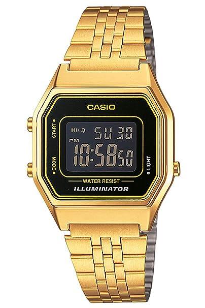 Casio Reloj Digital para Mujer de Cuarzo con Correa en Acero Inoxidable LA680WEGA-4CEF: Amazon.es: Relojes