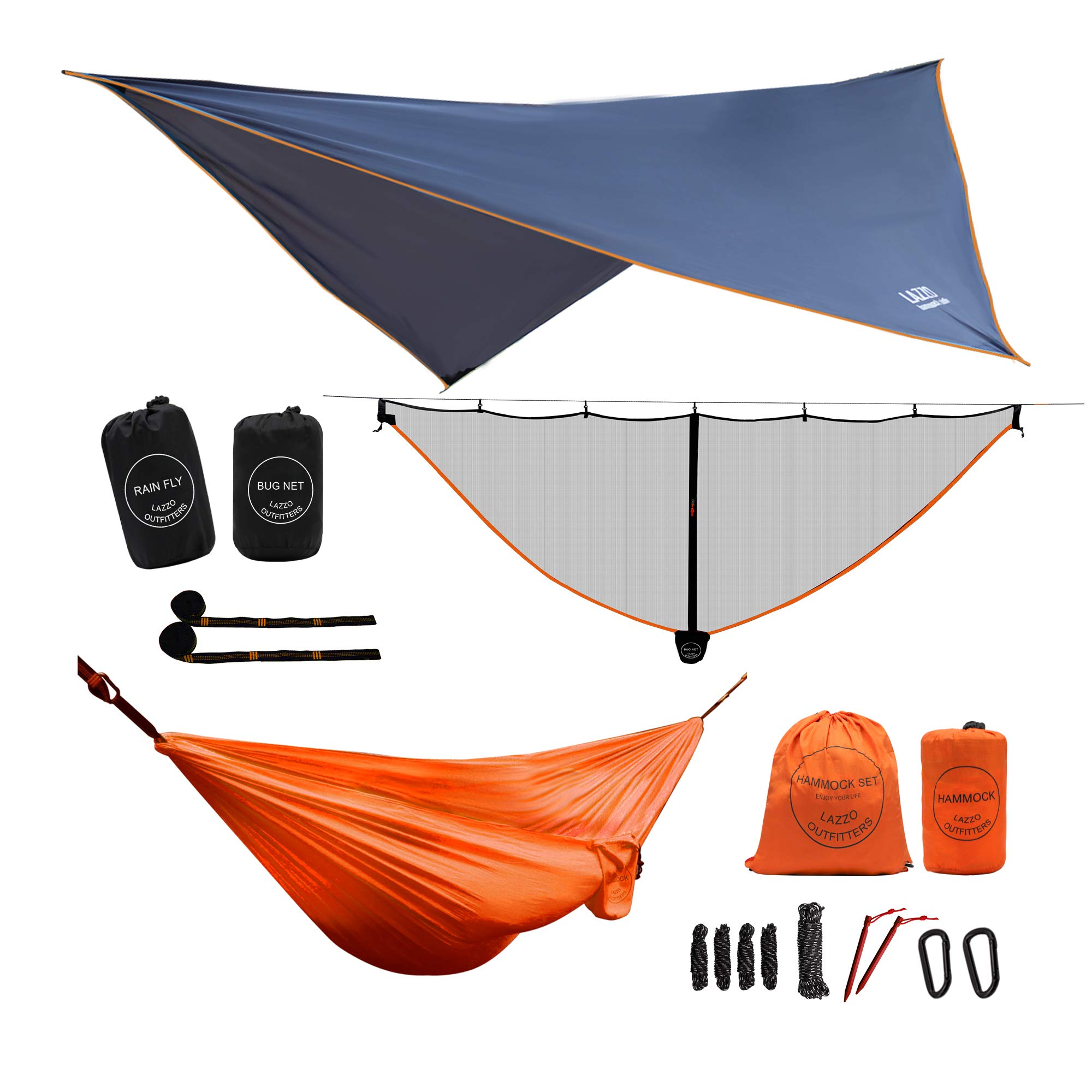 LAZZO Camping Hammock Set with Single Hammock,Mosquito Net, Rain Fly, 3 Foot Tree Straps, and Backpack,Perfect for Backpacking,Camping,Travel,Hiking & Yard (Orange, 9.2) by LAZZO