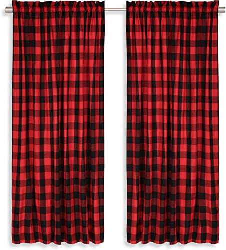 Cackleberry Home Red and Black Buffalo Check Woven Fabric Panel Curtains 54 Inches W x 96 Inches L