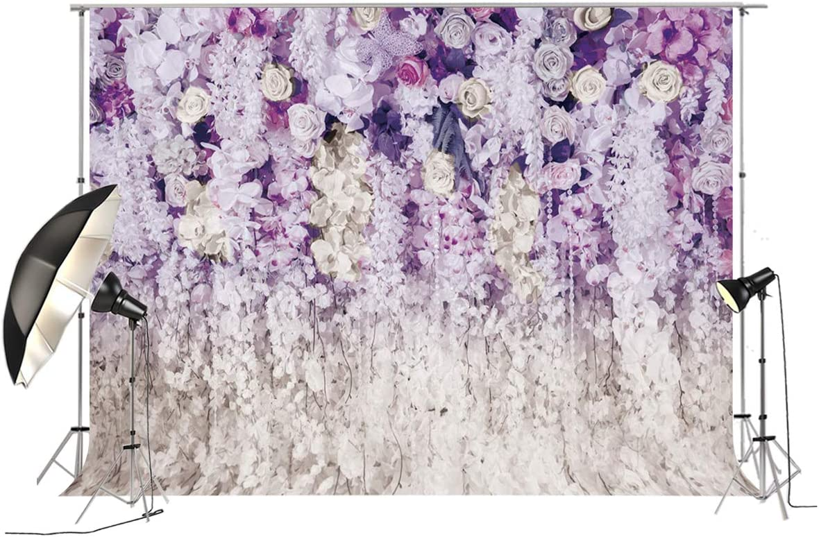 10x8ft Bridal Shower Large Wedding Purple Floral Wall Backdrop 3D Flowers Curtain Dessert Table Decoration Blush Background for Photography Pictures XT-6708