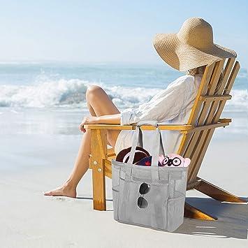 ROSA/&ROSA Mesh Strandtasche Extra Gro/ße Faltbare Einkaufstaschen f/ür Familie Urlaub Baden Shopper Reise Picknick Blau