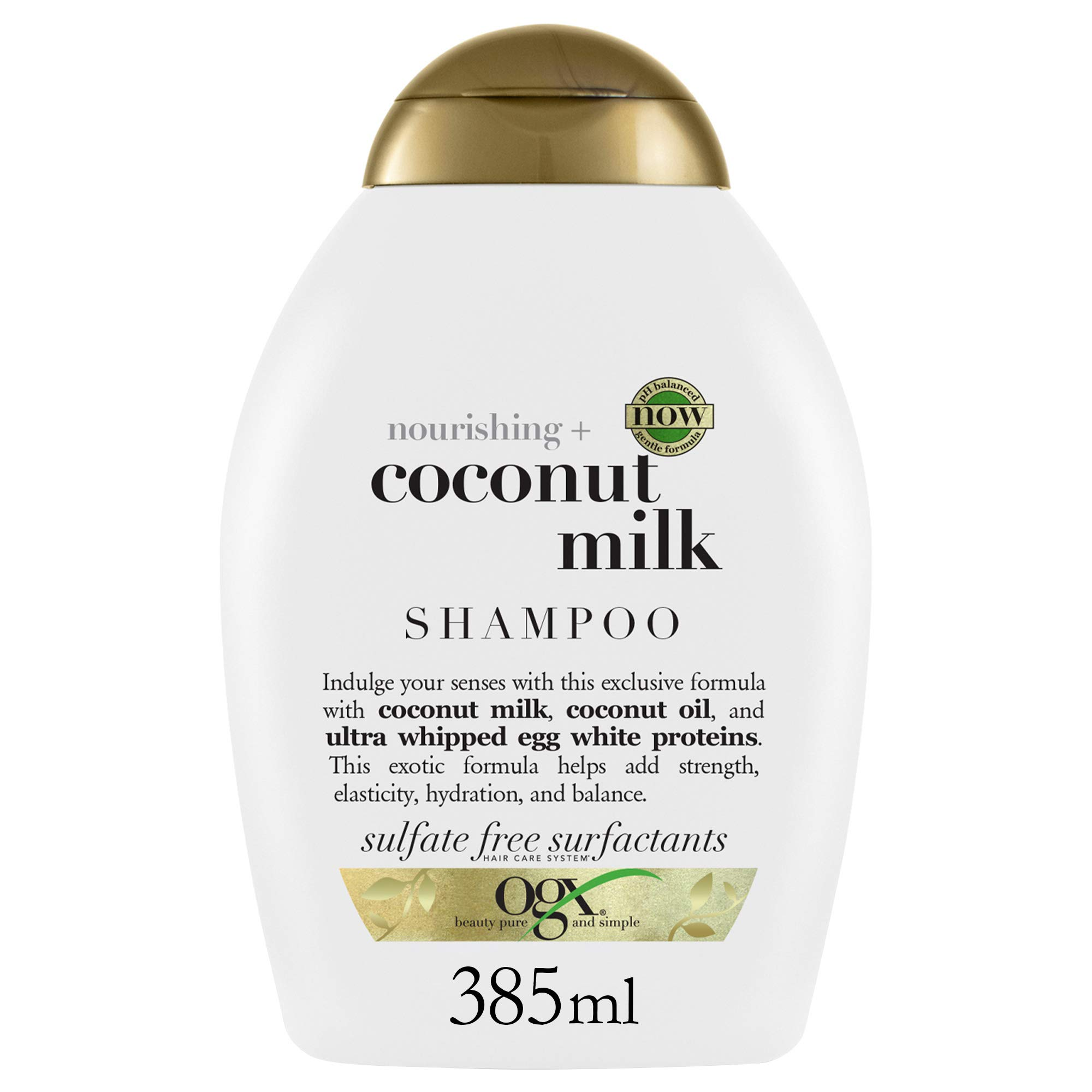 OGX Nourishing and Moisturizing Shampoo for Strong & Healthy Hair, with, Coconut Oil & Egg White Protein, Coconut Milk 13 Fl Oz