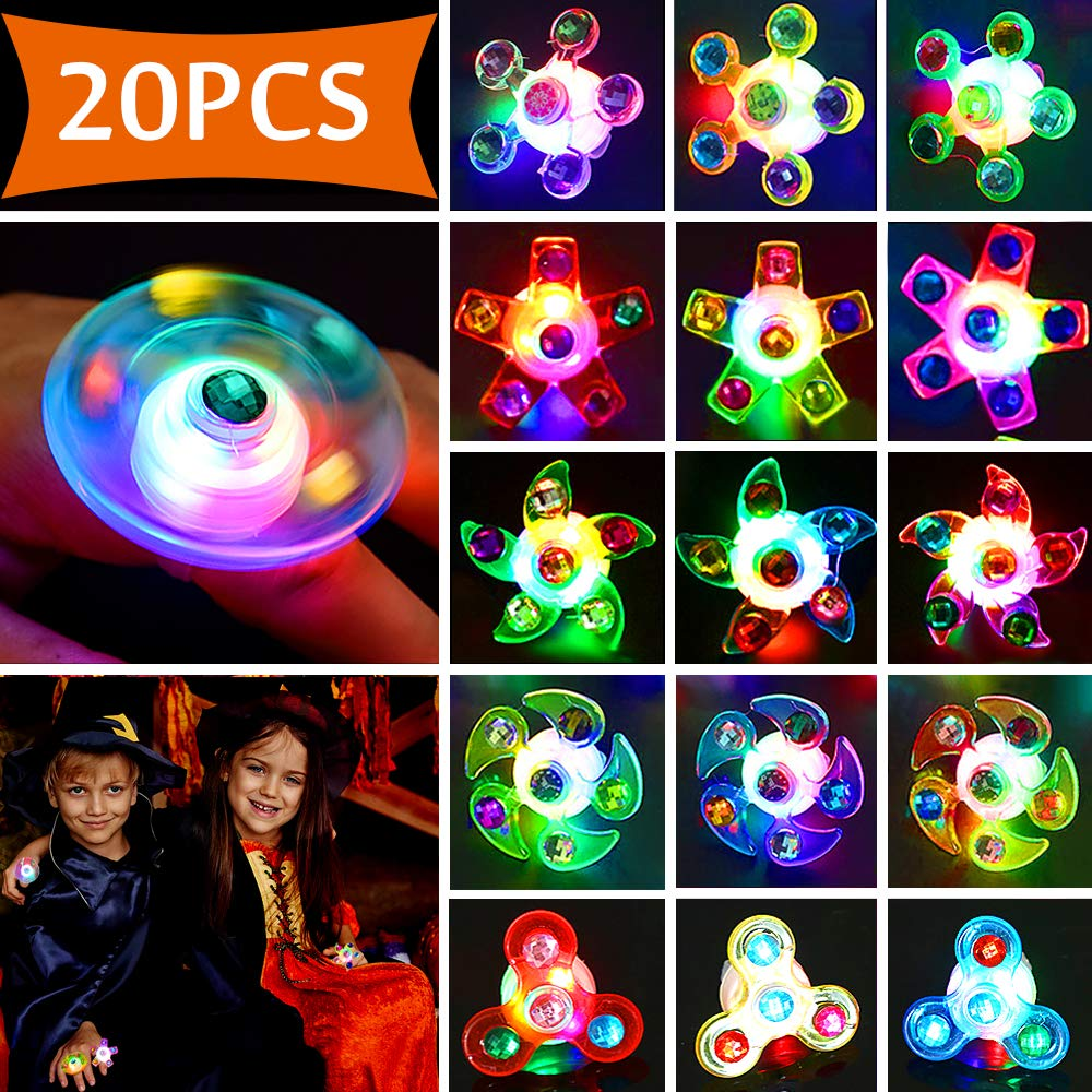 Light up Rings LED Party Favors for Kids Prizes 20 Pack Glow in the Dark Party Supplies Bulk Hand Spin Stress Relief Anxiety Toys for Classroom Birthday Celebration  for kids by QILIN