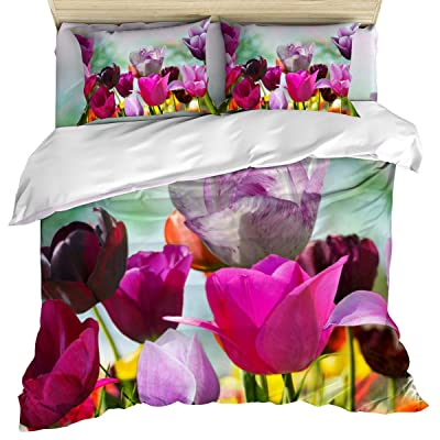 Anzona Luxury Durable Soft 4 Piece Duvet Cover Set California King, Colorful Tulips in Spring Sunshine Quilt/Comforter Cover Bedspread Pillowcases for Childrens/Kids/Adults: Home & Kitchen