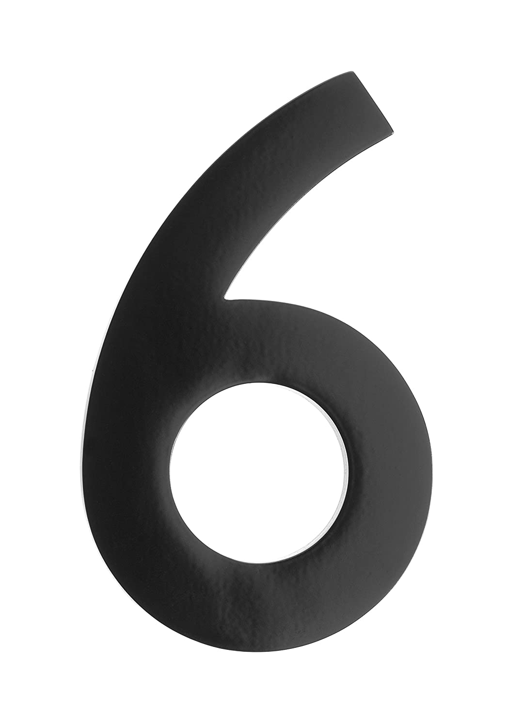 Architectural Mailboxes 3585B-6 5 in. Brass Floating House Number 6, Black