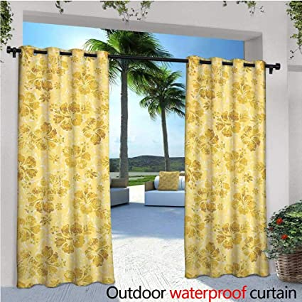 Superieur CobeDecor Hawaiian Patio Curtains Golden Hibiscus Flowers Pattern Grunge  Tropical Beach Theme In Hawaii Nature Picture