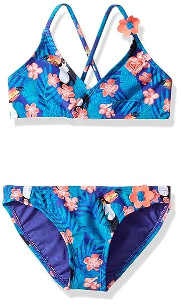 81808431e0d4 Amazon.com: Roxy Girls' Little Tropics Athletic Set Two Piece Swimsuit,  Toucan Tango New Royal Blue, 2: Clothing