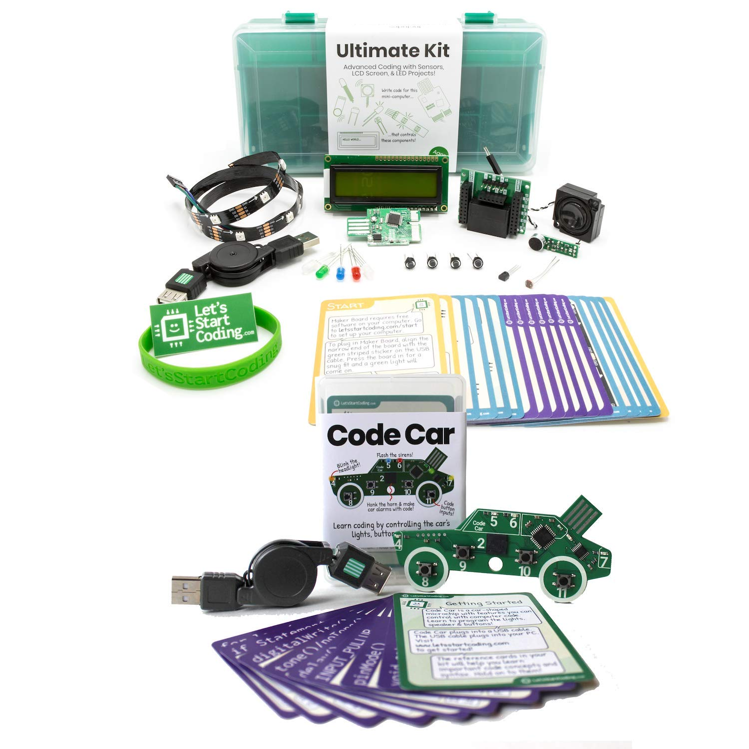 Bundle: Ultimate Coding Kit + Code Car. Great Gift for Kids 8 - 13. Bundle and Save!