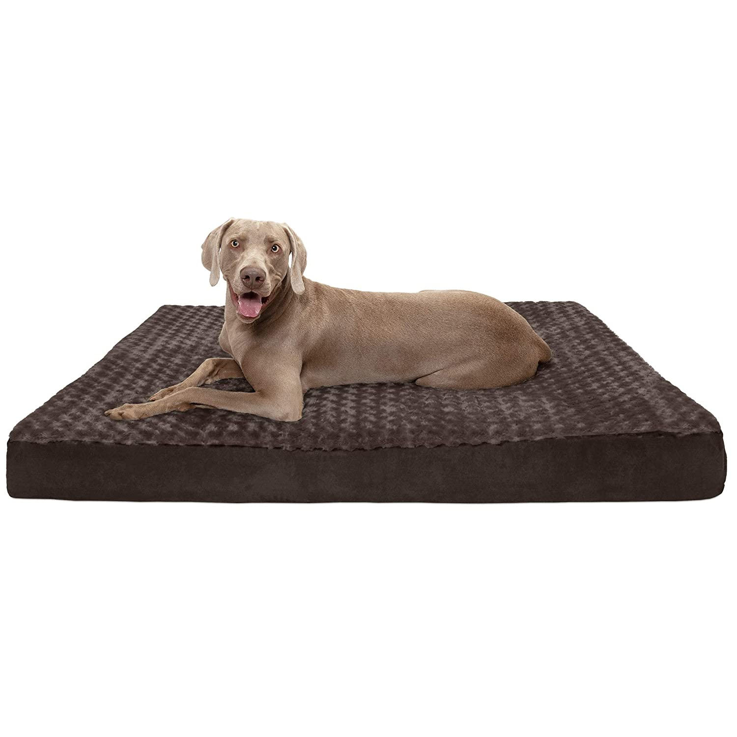 Chocolate Jumbo Plus Chocolate Jumbo Plus FurHaven Pet Dog Bed   Deluxe Cooling Gel Memory Foam Orthopedic Ultra Plush Mattress Pet Bed for Dogs & Cats, Chocolate, Jumbo Plus
