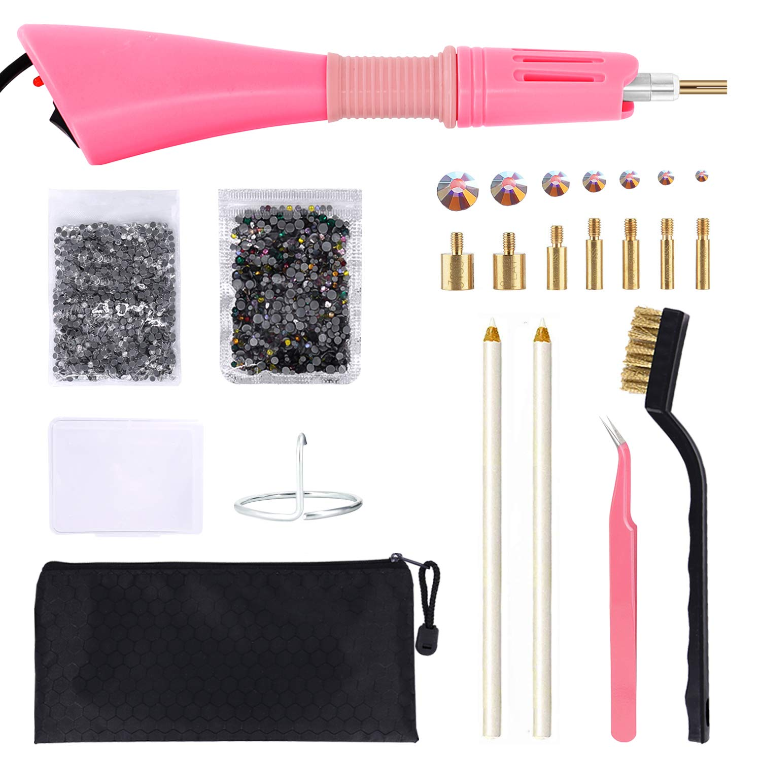 Hotfix Applicator, GLTECK DIY Hot Fix Rhinestone Applicator Wand Setter Tool Kit with 7 Different Sizes Tips-2 Rhinestone Pencil Pickers -Tweezers & Brush Cleaning kit and 2 Pack Hot-Fix Crystal Rhin by GGLTECK
