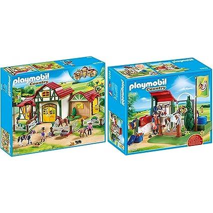 Amazon.com: Playmobil 6926 - Großer Reiterhof & 6929 ...