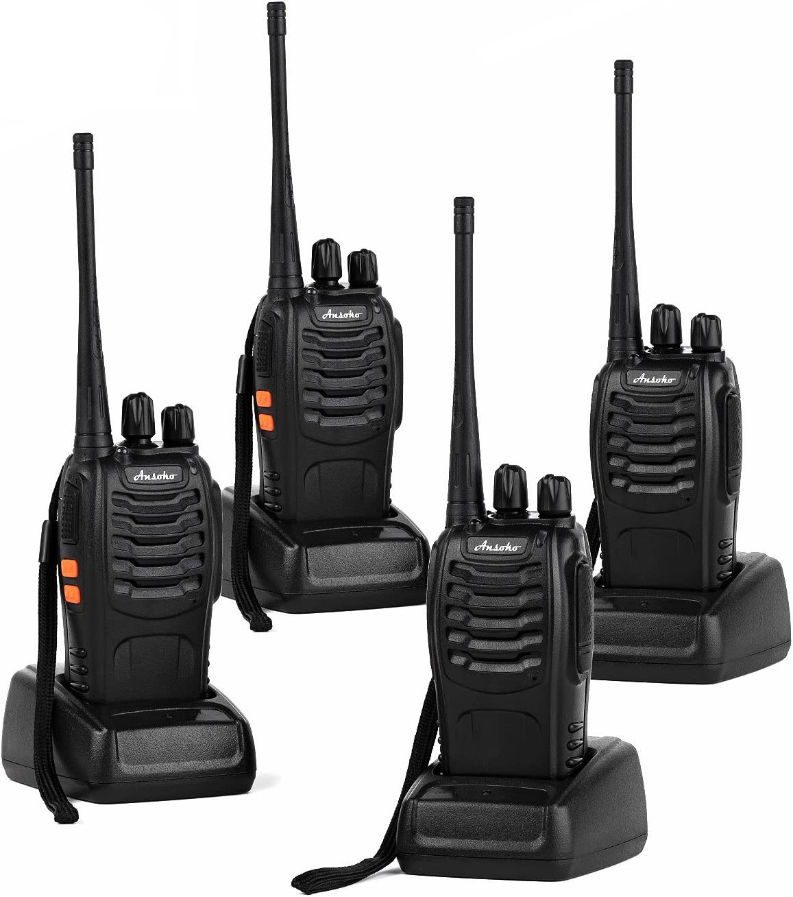 Ansoko Long Range Walkie Talkies Rechargeable Two Way Radios FRS GMRS 16-Channel UHF 2-Way Radio for Adults Pack of 4