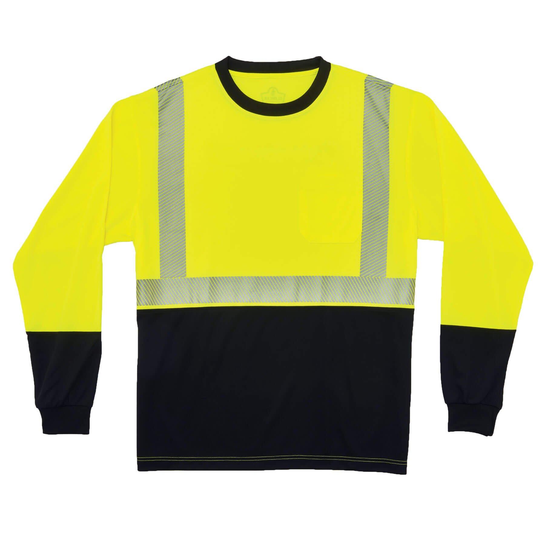 Ergodyne GloWear 8281BK ANSI Black Bottom High Visibility Long Sleeve Reflective Safety Shirt, Lime, Medium