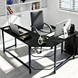 Tribesigns Modern L-Shaped Desk Corner Computer Desk PC Latop Study Table Workstation Home Office Wood & Metal, Black