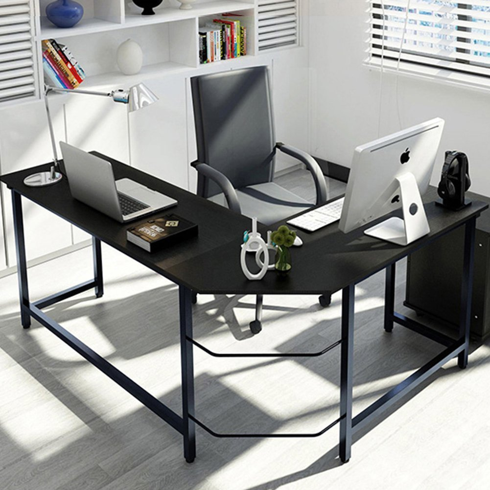 tribesigns modern lshaped desk corner computer desk pc latop study table workstation home office wood u0026 metal black