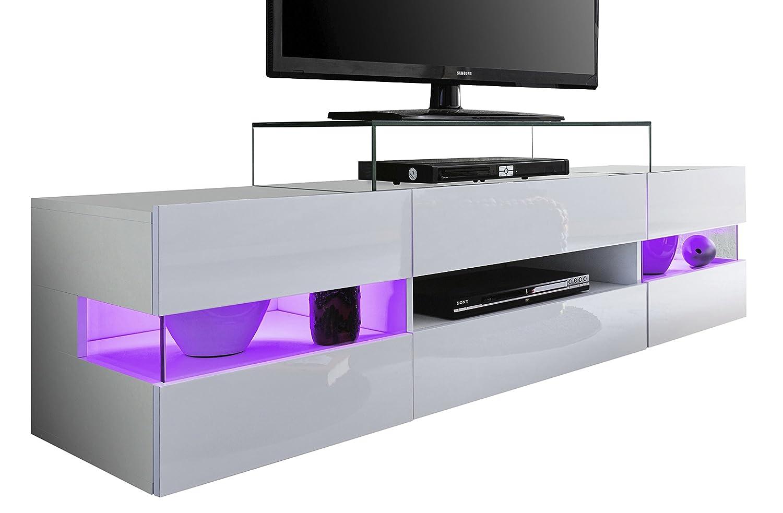 trendteam Wohnzimmer Lowboard Fernsehschrank Fernsehtisch Sonic, 169 x 43 x 43,5 cm in Weiß Hochglanz  ohne Beleuchtung