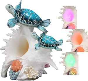 """Ebros Colorful Nautical Blue Sea Turtle Family Swimming Over White Ocean Conch with LED Light Statue 9.25"""" Long Decorative Turtles Anemone Under The Sea Figurine"""
