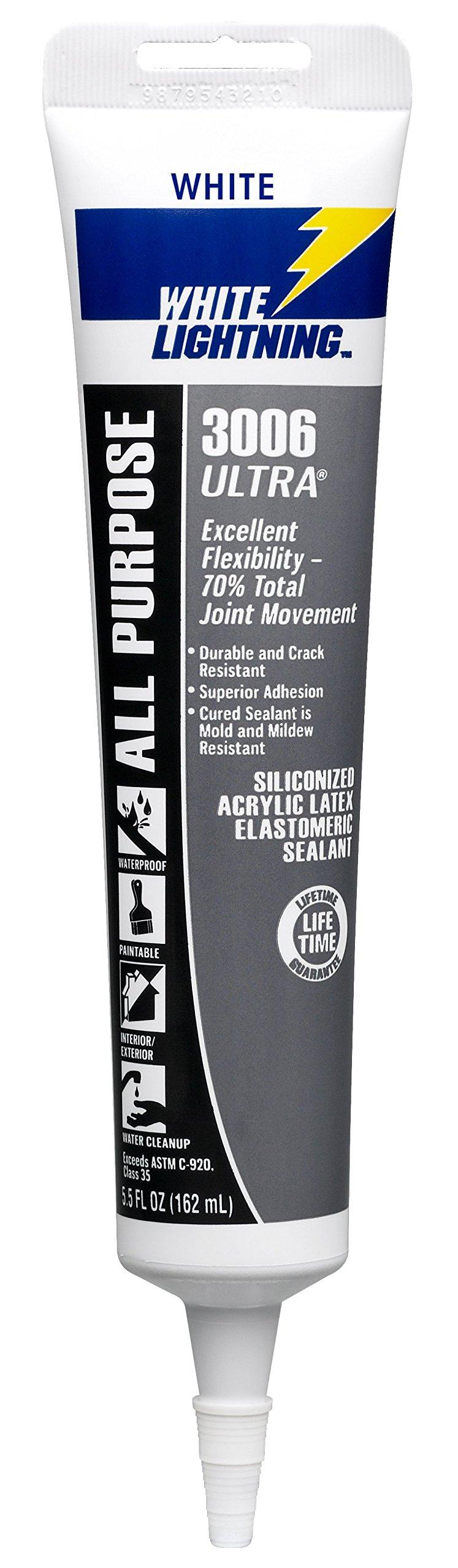 White Lightning W11000005 3006 ULTRA All Purpose Elastomeric Sealant, White, 5.5 ounce