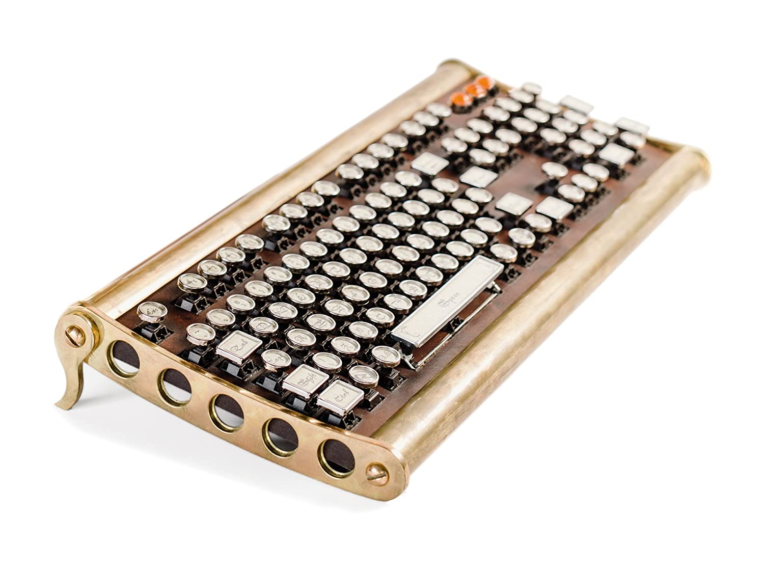a brass-constructed keyboard made to mimic an old-school typewriter.