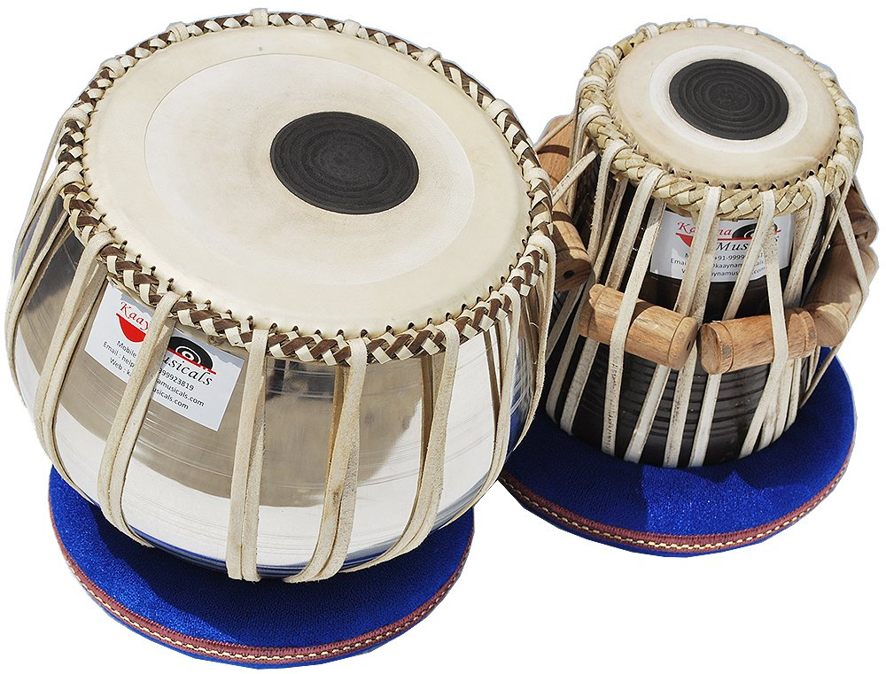 Tabla Drums Set, Deluxe Steel Bayan 2 KG., Chrome Finish, Sheesham Wood Dayan, Hand Made Drum Skin, Leather Straps to Tune, Tuning Hammer, & Pegs, Gig Bag, Cushion & Cover, Best For Student & Beginner by Kaayna Musicals