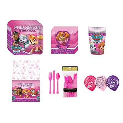 Paw Patrol Pink Girl's Children Birthday Complete Party Tableware Pack For 8 Guests Includes Plates Cups Napkins Silverware Balloons and Tableb Cover: Health & Personal Care