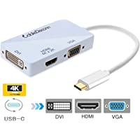 USB-C Multiport Adapter,CableDeconn USB-C Type C 3.1 (Thunderbolt 3 Compatible) to HDMI DVI VGA 4K Cable Adapter Converter for New MacBook (Cream)