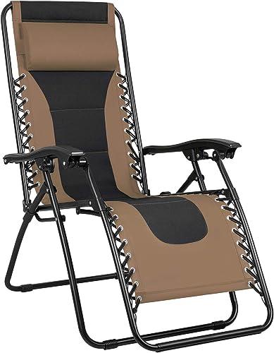 Greesum GS-TKZG1BN Oversize Padded Zero Gravity Lounge Chair Furniture, Brown