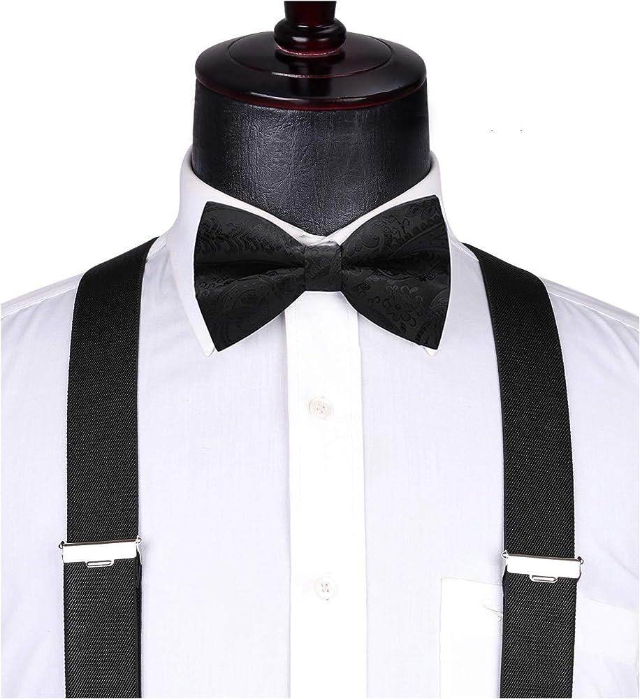 Burgundy Pattern Bow Tie /& Suspender Set Tuxedo Wedding Formal Men Accessories
