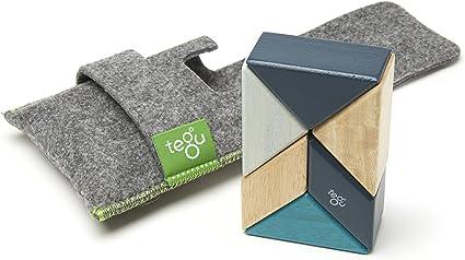 Jungle 6 Piece Tegu Pocket Pouch Prism Magnetic Wooden Block Set