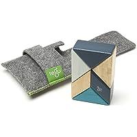 Tegu Pocket Pouch Prism Magnetic Wooden Block Set, Blues, 6 Piece