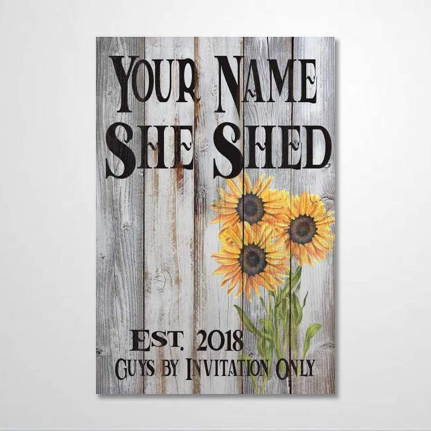 BYRON HOYLE Custom Your Name and She Shed Wood Sign,Wooden Wall Hanging Art,Inspirational Farmhouse Wall Plaque,Rustic Home Decor for Living Room,Nursery,Bedroom,Porch,Gallery Wall