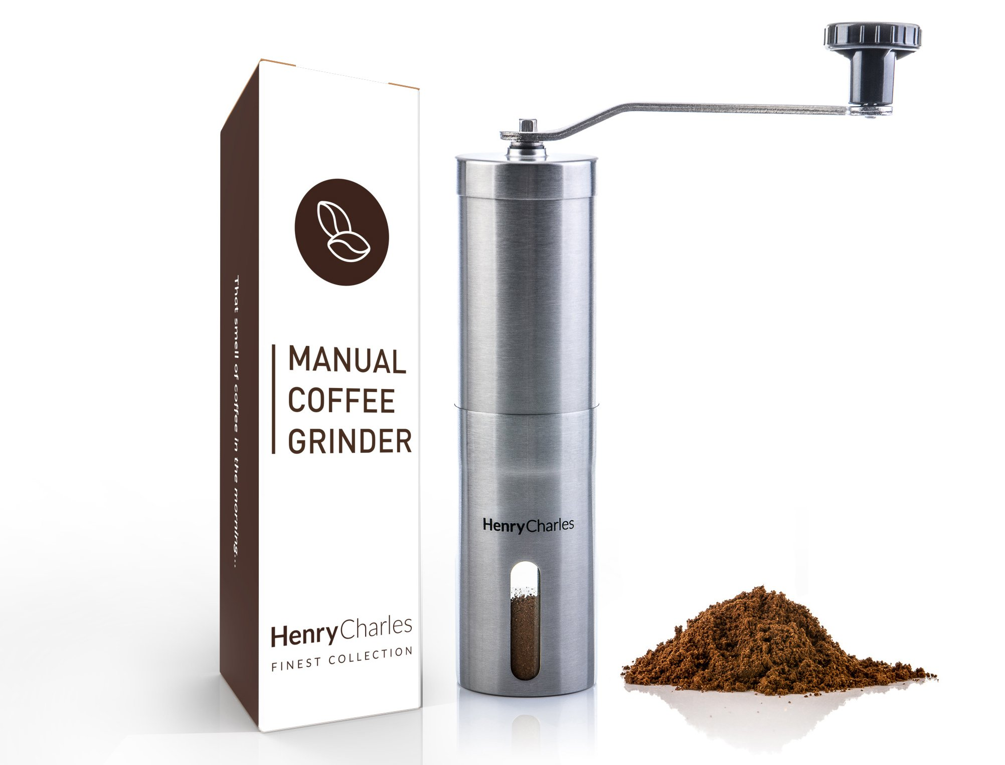 Henry Charles Manual Coffee Grinder, Adjustable Conical Ceramic Burr, Brushed Stainless Steel
