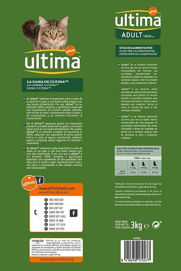 Ultima Pienso para Gatos Adulto con Salmón - 3000 gr: Amazon.es: Amazon Pantry