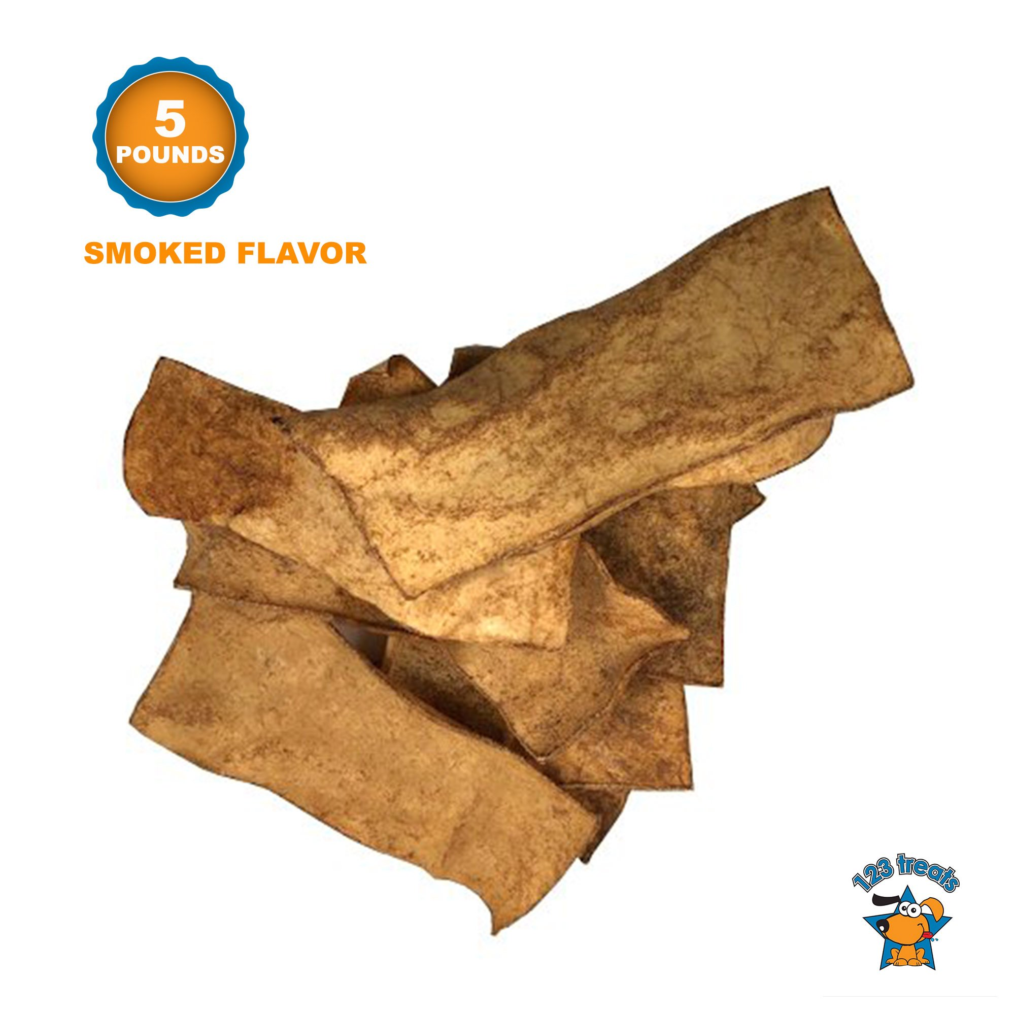 123 Treats - Rawhide Chips Dog Chews (5 LBS - Smoked Flavor) 100% All-Natural Grass-Fed Free-Range Beef Hide for Dogs with No Hormones, Additives or Chemicals by 123 Treats
