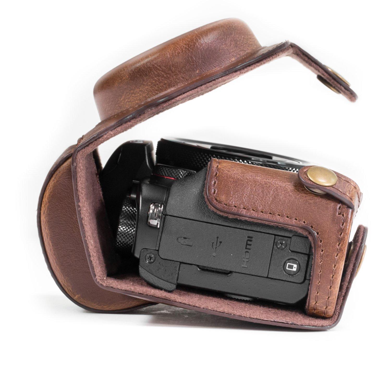 MG1066 MegaGear Canon PowerShot G5 X Ever Ready Custodia in ecopelle per Fotocamera con Tracolla Nero