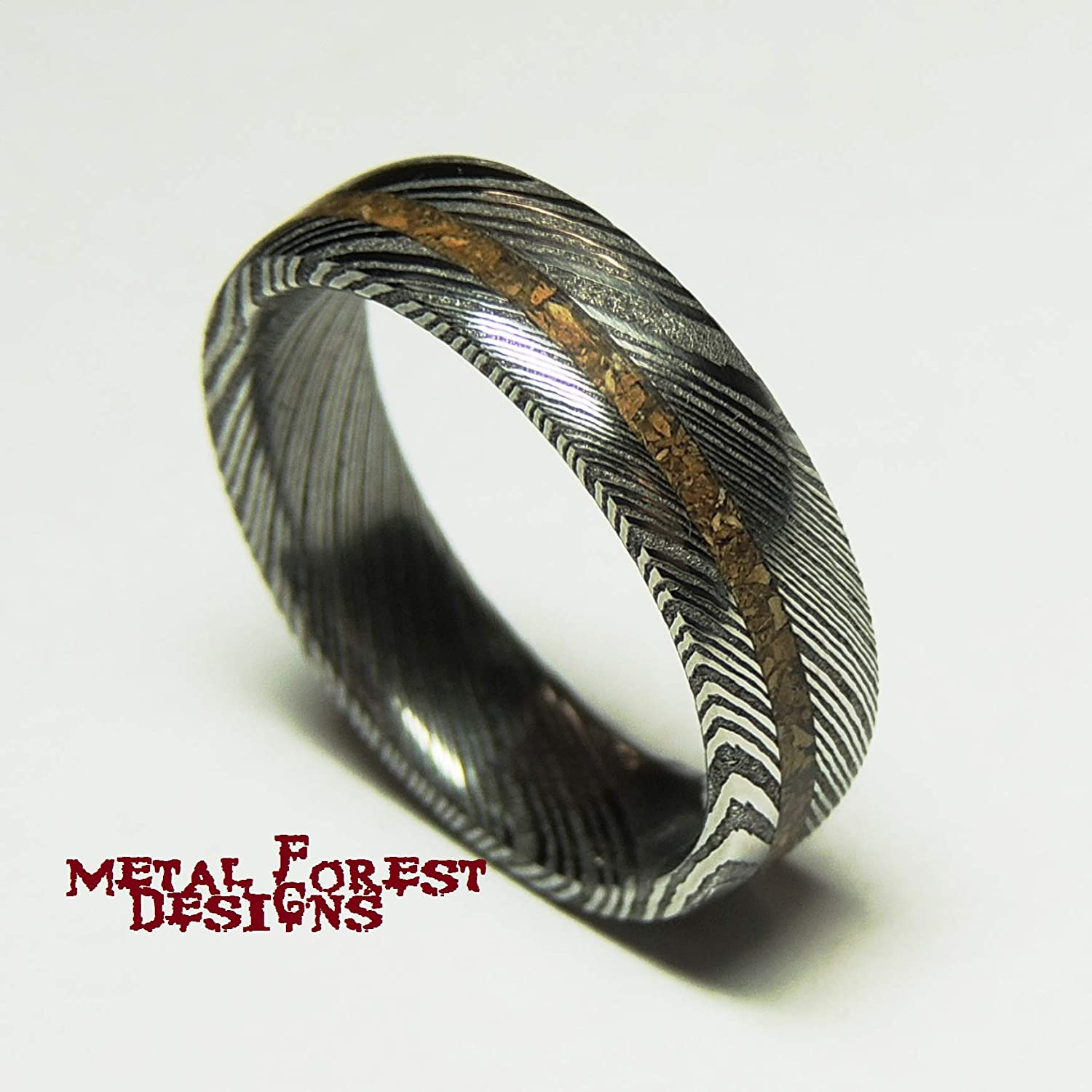 Amazon.com  T-Rex and Stainless Damascus Steel Ring with Dinosaur Bone 51b8a1774