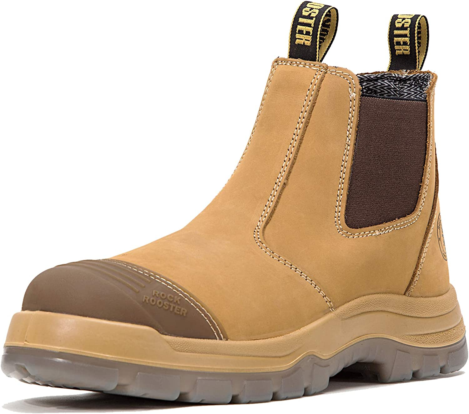 ROCKROOSTER Work Boots for Men, 6 inch Steel Toe, Slip On Safety Oiled Leather Shoes, Static Dissipative, Breathable, Quick Dry(AK227, AK222)