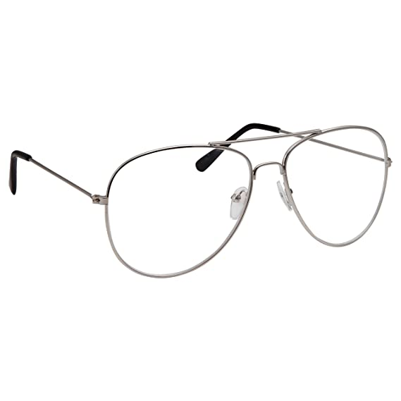 150b1bd69d grinderPUNCH Aviator Clear Lens Eyeglasses for Fashion Glasses with Non-Prescription  UV Protection Metal Frame Silver  Amazon.in  Clothing   Accessories