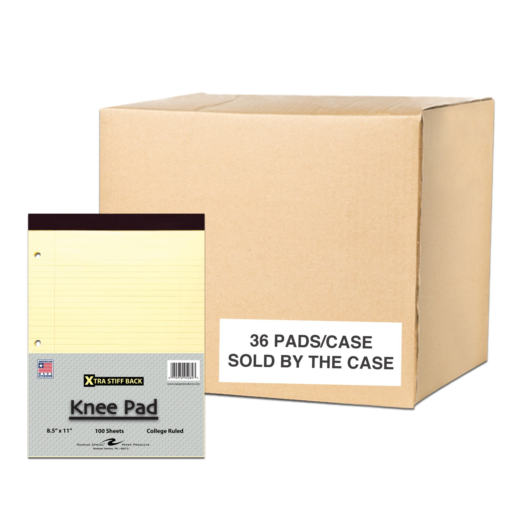 Case of 36 Stiff Back Pads, 8.5''x11.75'', 100 sheets of 15# Canary Paper Per Pad, 3-Hole Punched, College Ruled W/Margin