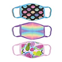 ABG Accessories Girls' 3-Pack Kid Fashionable Germ Protection, Reusable Fabric Face...