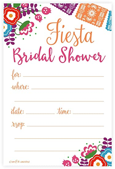fiesta bridal shower invitations fill in style 20 count with envelopes