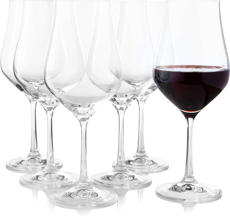 Crystalex - Copas de vino tinto de tallo largo (6 unidades, cristal de forma de tulipán grande, para Bordeaux, Merlot, vino tinto o blanco, copa de ...