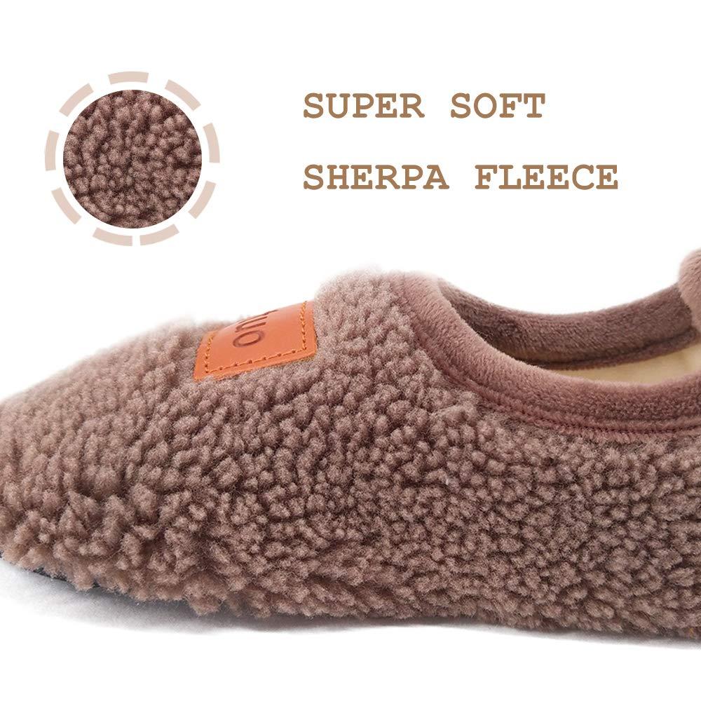 Dream Bridge Kids Sherpa Fleece Slippers with Anti-Slip Sole for Boys Girls