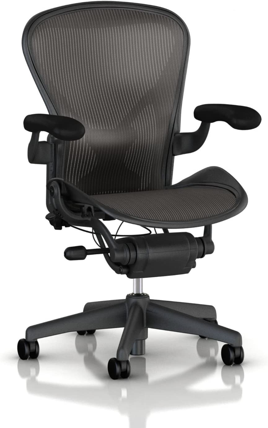 Herman Miller Classic Aeron Task Chair Highly Adj w PostureFit Support – Tilit Limiter w Seat Angle Adj – Fully Adj Vinyl Arms – Carpet Casters