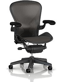 herman miller aeron tilt limiter task chair adjustable vinyl arms graphite frame carbon